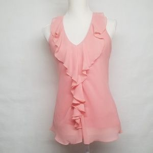 BCX Sheer Ruffle Top With Lace Back Detail